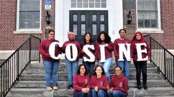 SEBS EOF Students represent the COSINE Club outside of martin Hall